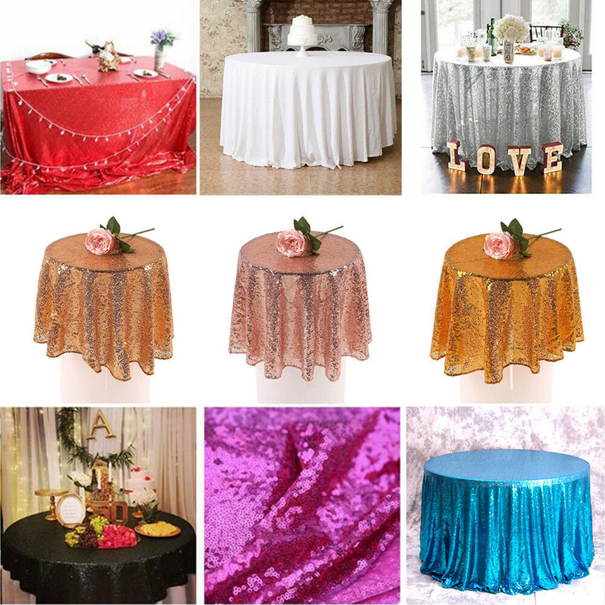 Sparkle Sequin Tablecloth Cover, Glitter Round Tablecloths Rose Gold Silver Champagne Wedding Birthday Baby Shower Event Banquet Christmas Party Home Decor, dia 60cm-330cm