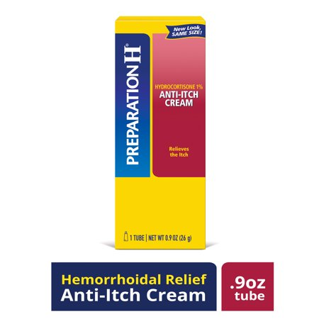 Preparation H Anti-Itch Treatment Cream with Hydrocortisone 1%, Maximum Strength Relief, Tube (0.9
