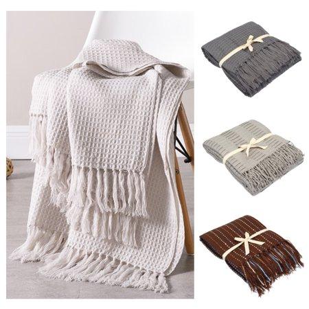 Lightweight Soft Throw Blanket with Tassel Modern Decorative Knitted Blanket 51