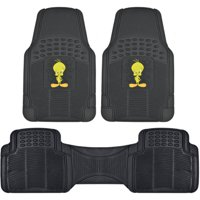 BDK Looney Tunes Tweety Bird Car Floor Mats, Rubber 3 Pieces Heavy Duty Trimmable Liners