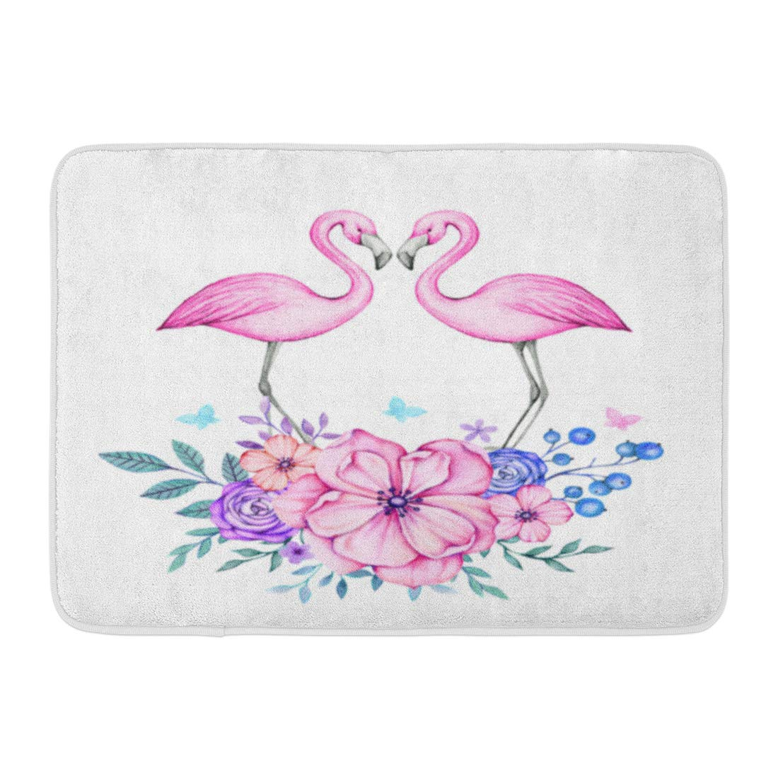Baby Pink Bathroom Rugs: GODPOK Baby Pink Bird Lovely And Romantic Watercolor With