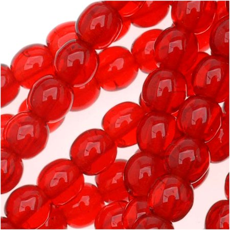 Czech Glass Druk Round 4mm Ruby Red Druks (100 - Red Glass Beads