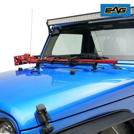 EAG Hi-Lift Jack Mount Hood Hinge Bracket - fits 07-18 Jeep Wrangler JK