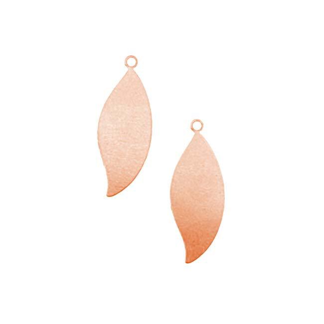 Solid Copper Leaf Shaped Pendant Blanks - 27x10.5mm 24 Gauge (2)