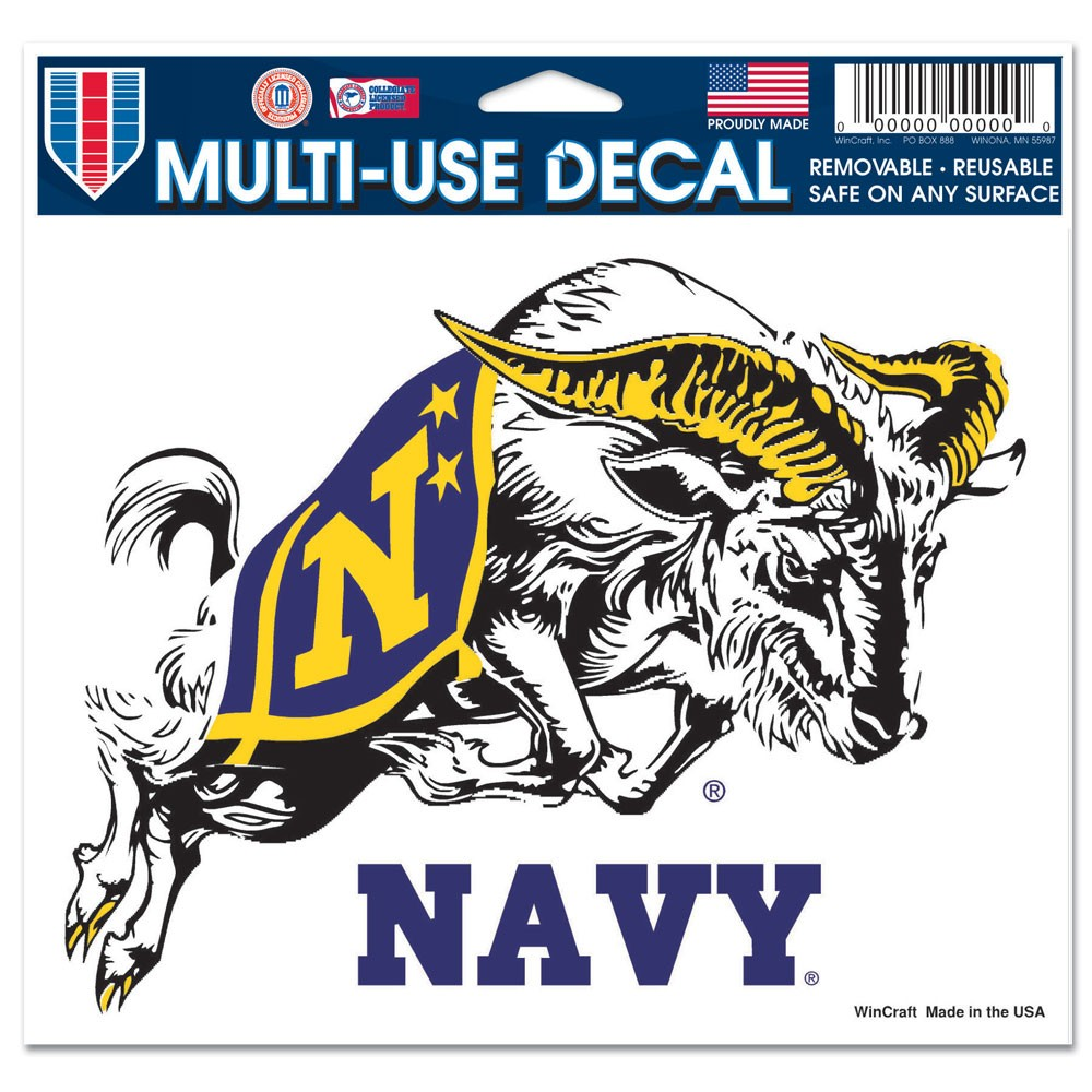Navy Midshipmen Official NCAA 4 inch x 6 inch Car Window Cling Decal by WinCraft