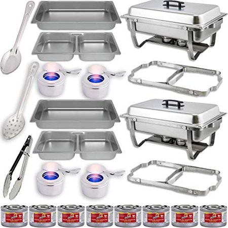 """Chafing Dish Buffet Set w/Fuel — Folding Frame + Divided pan (4qt x 2) + Food Pan (8 qt) Water Pan + 4 Fuel Holders + 8 Fuel Cans + Utensils (11"""" Solid & Perforated Spoon + 9"""" Tongs) 2 Full Warmer Kit"""