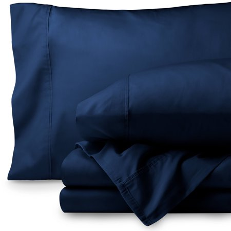 Egyptian Cotton 300 Thread Count Sateen King Sheet Set (King, Dark Blue)