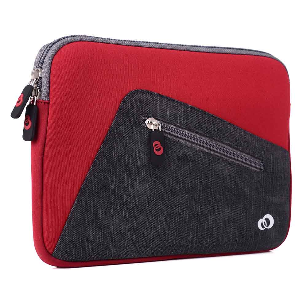 """Slim Neoprene Protective Laptop & Tablet Sleeve, Water Resistant Cover Case for Apple iPad Air, Samsung Galaxy, Kindle Fire (9"""" inch, Red)"""
