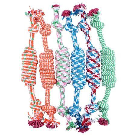 Bone Pet Toy - Puppy Dog Pet Toy Cotton Braided Bone Rope Chew Knot New Random color
