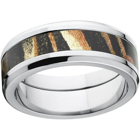 Shadow Grass Men's Camo 8mm Stainless Steel Wedding Band with Polished Edges and Deluxe Comfort Fit