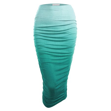 Ombre High Waist Pencil Skirt with Side Shirring