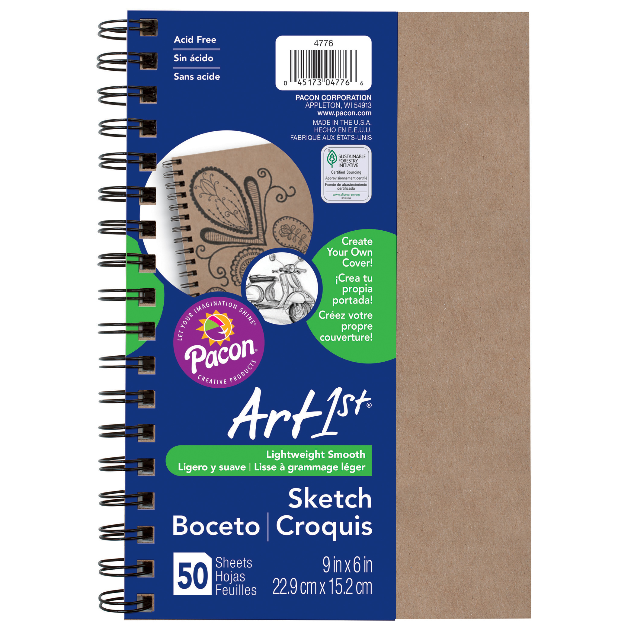 """Art1st® Create Your Own Cover Sketch Diary, 9"""" x 6"""", Natural, 6/pkg"""