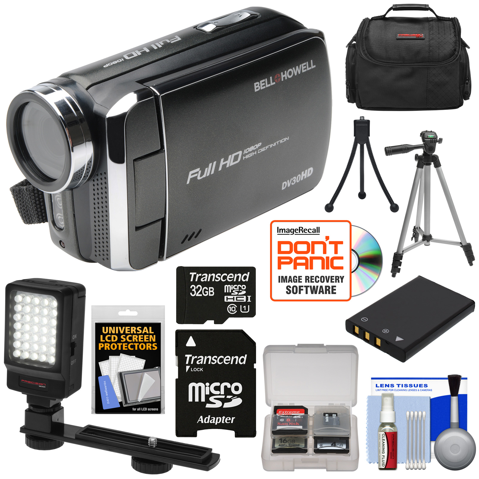 Bell & Howell DV30HD 1080p HD Video Camera Camcorder (Black) with 32GB Card   Battery   Case   Tripods   LED Video Light   Kit