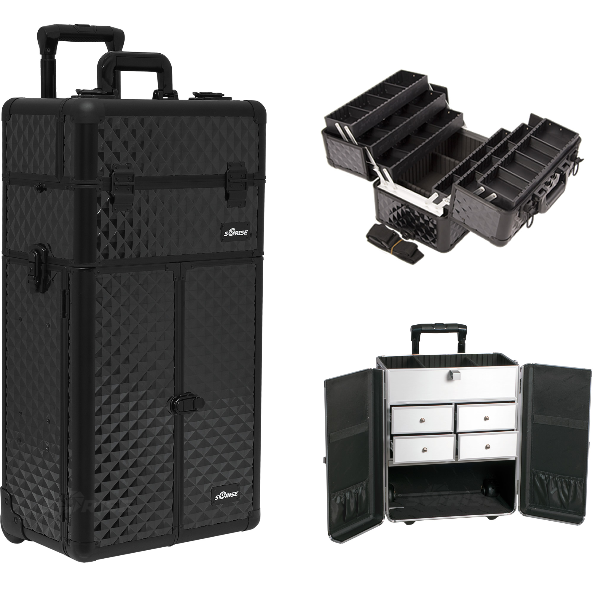 Sunrise Black Diamond Professional Rolling Aluminum Cosmetic Makeup French Door Opening Case with Split Drawers and 6-Tiers Extendable Trays with Dividers I3465