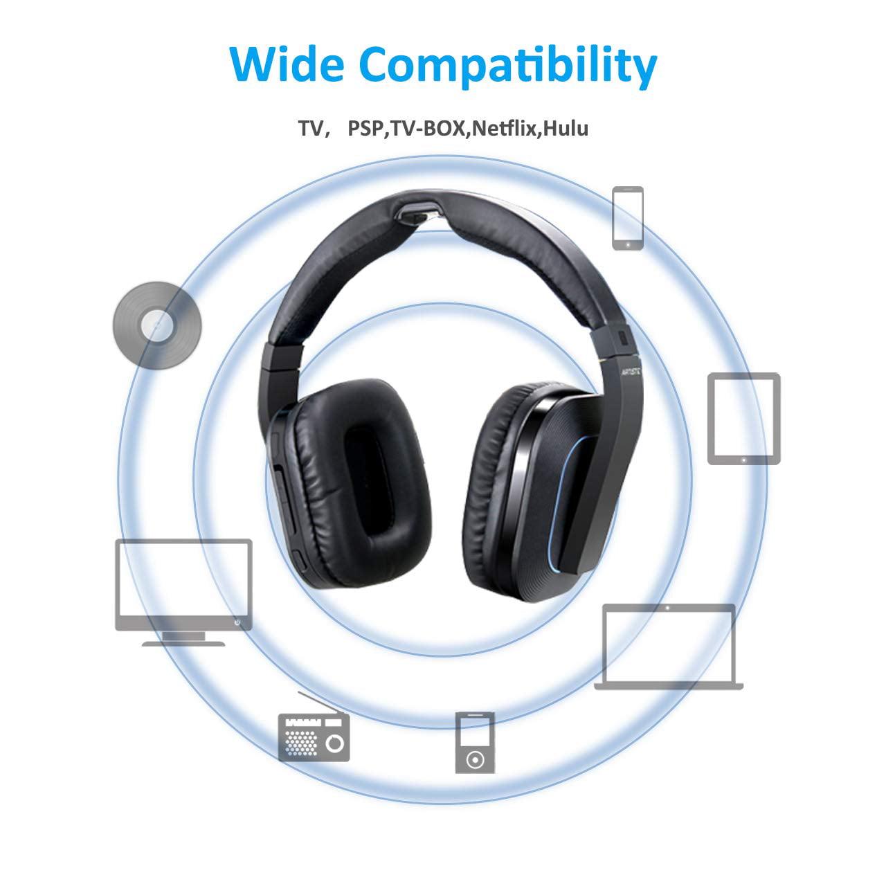 edada2714b0 Wireless Stereo TV Headphones, Artiste D1 2.4GHz Optical Fiber TV Headset  for TV Listening W/Digital Output,20 Hour Battery and Headphones Charging  Dock ...