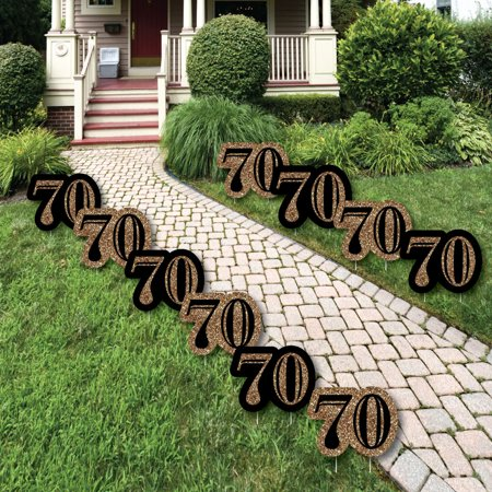 Adult 70th Birthday - Gold Lawn Decorations - Outdoor Birthday Party Yard Decorations - 10 Piece