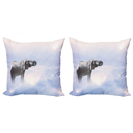 Mystic Throw Pillow Cushion Cover Pack of 2, Elephant Standing in the Clouds Freedom Metaphor Blessedimal Strength Concept, Zippered Double-Side Digital Print, 4 Sizes, Grey Blue, by Ambesonne