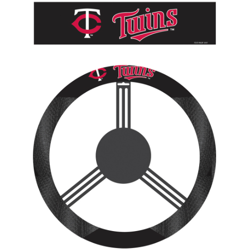 Fremont Die Inc Minnesota Twins Poly-Suede Steering Wheel Cover Wheel Cover