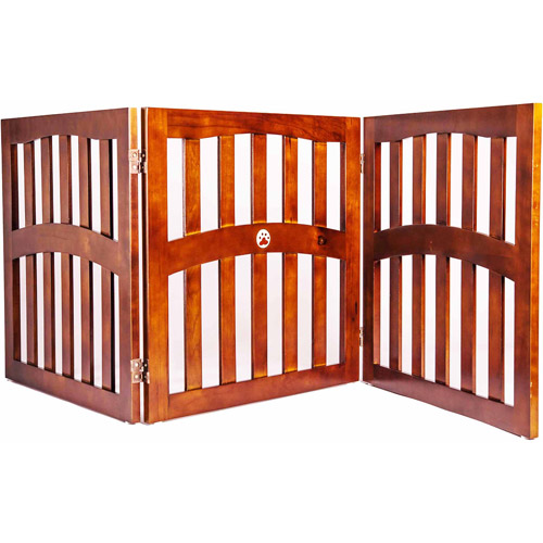 "Lobo Convertible Dog Gate with Ceramic Paw Accent, Three 32"" Panels"