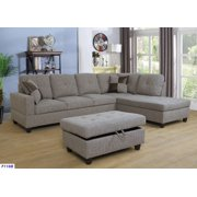 ASHEY Furniture_L Shape Sectional Sofa Set with Storage Ottoman, Right Hand Facing Chaise, Brown/Gray Color, Linen Upholstery Material