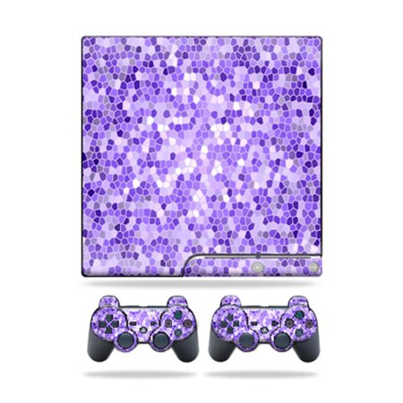 System 3 Glass (Mightyskins Protective Vinyl Skin Decal Cover for Sony Playstation 3 PS3 Slim skins + 2 Controller skins Sticker Stained Glass )
