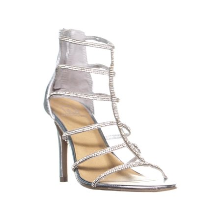 Womens MG35 Raissa Strappy Bejeweled Dress Sandals, Silver