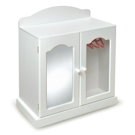 Badger Basket Mirrored Doll Armoire with 3 Baskets and 3 Hangers - White/Pink - Fits Most 18
