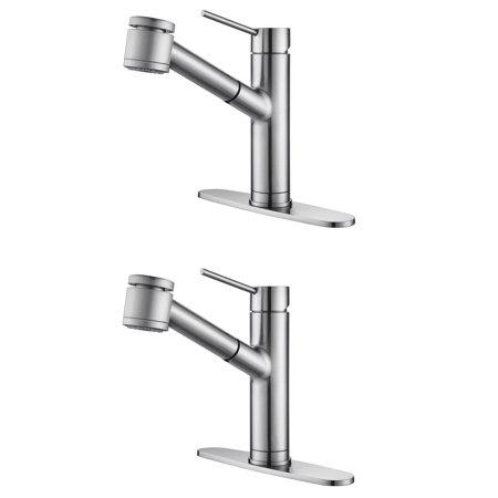 Kraus Oletto Single Handle Stainless Steel Pull Out Kitchen Faucet (2 Pack)