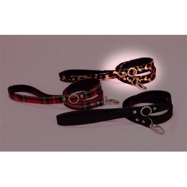 Hollywood Poochie HP309 Pinstripe With Hook Doggie Leash With Rhinestone Studs 4 ft., Long , Black & White - One Size