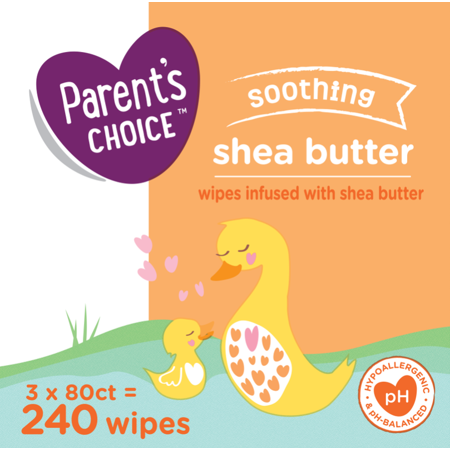 Parents Choice Soothing Shea, Cucumber & Aloe Baby Wipes, 3 Flip-Top Packs (240 Total Wipes)