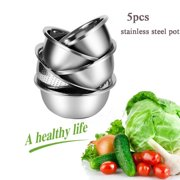 Lovehome 5PCS Multifunctional Thick Stainless Steel Pot Baking Egg Bowl Sink Dish Kitchen