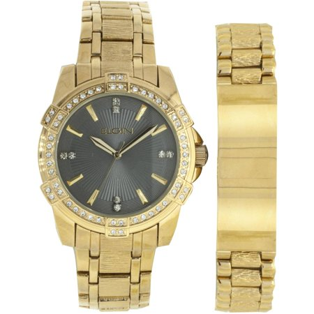 Men's Large Round Grey Dial Analog Watch and Bracelet Set, Gold Bracelet