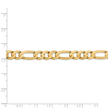 14k Yellow Gold 7.5mm Concave Link Figaro Chain Necklace 22 Inch Pendant Charm Fine Jewelry For Women Gifts For Her - image 5 de 9
