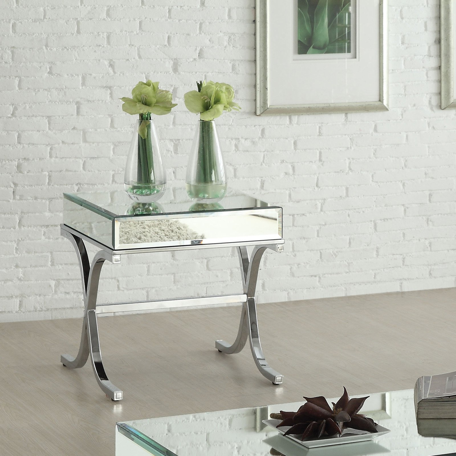 Acme Furniture Yuri Mirrored Top and Chrome End Table by Acme Furniture
