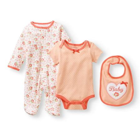 Newborn Baby Girl Knit Coverall, Knit Creeper And Knit Bib Set