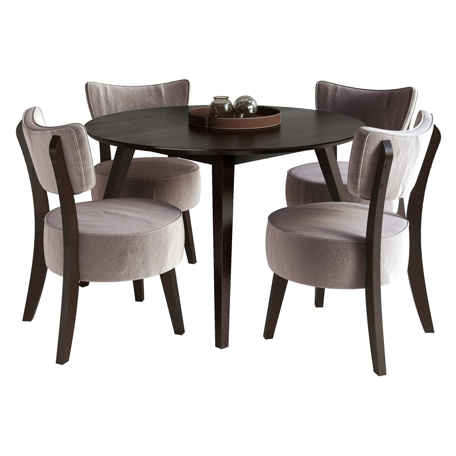 CorLiving Atwood 5-Piece Dining Set, Soft Grey Velvet Chairs