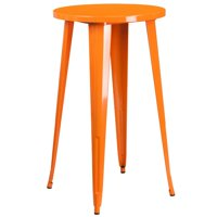 Bowery Hill Metal Patio Bistro Table in Orange