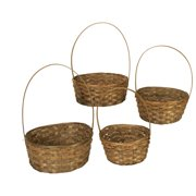 Wald Import Dark Stained Bamboo Baskets - Set of 4