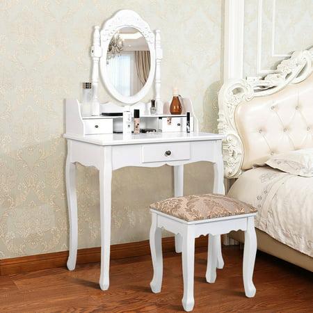 Gymax 3 Drawers Vanity Set Dressing Table w/ Tri-Folding Mirror White