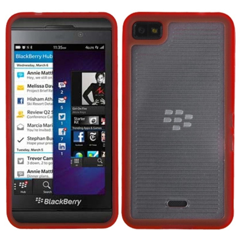 Insten Horizontal Stripes Transparent Clear/Solid Red Blue Gummy Cover Case for BLACKBERRY: Z10