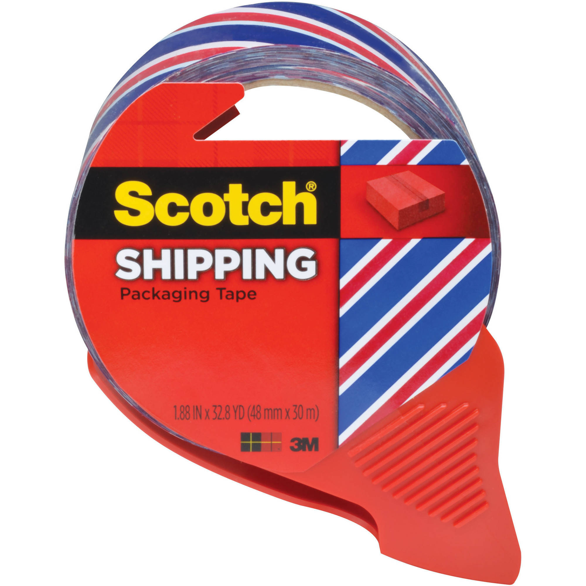 Scotch Special Edition Shipping Packaging Tape with Dispenser, Red, White and Blue Striped Pattern, 3 in. Core, 1.88 in x 32.8 yd,