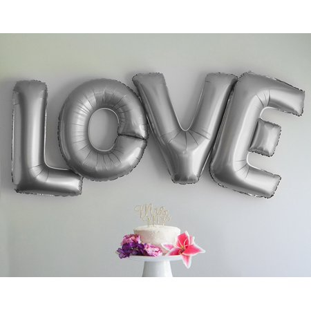 Love Letters Balloons 40 Inch Large Letter Foil Wedding Party Decorations (Silver) - Silver Wedding Anniversary Decorations
