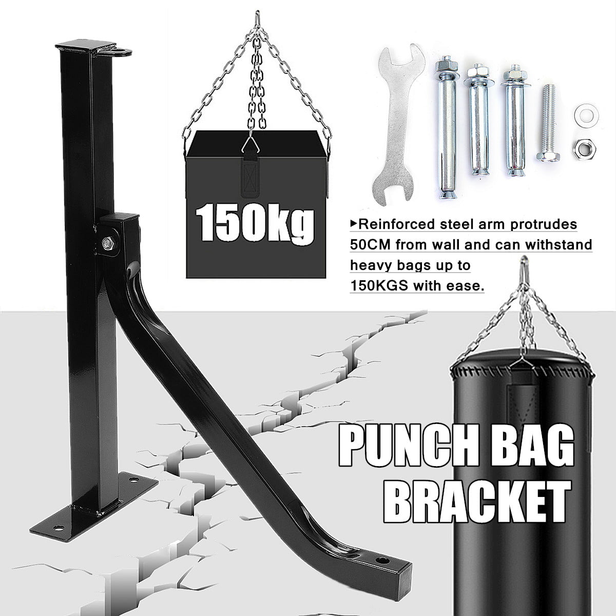 Heavy Duty Steel Boxing Punch Bag Wall Bracket Mount Hanging Stand Holder Hanger