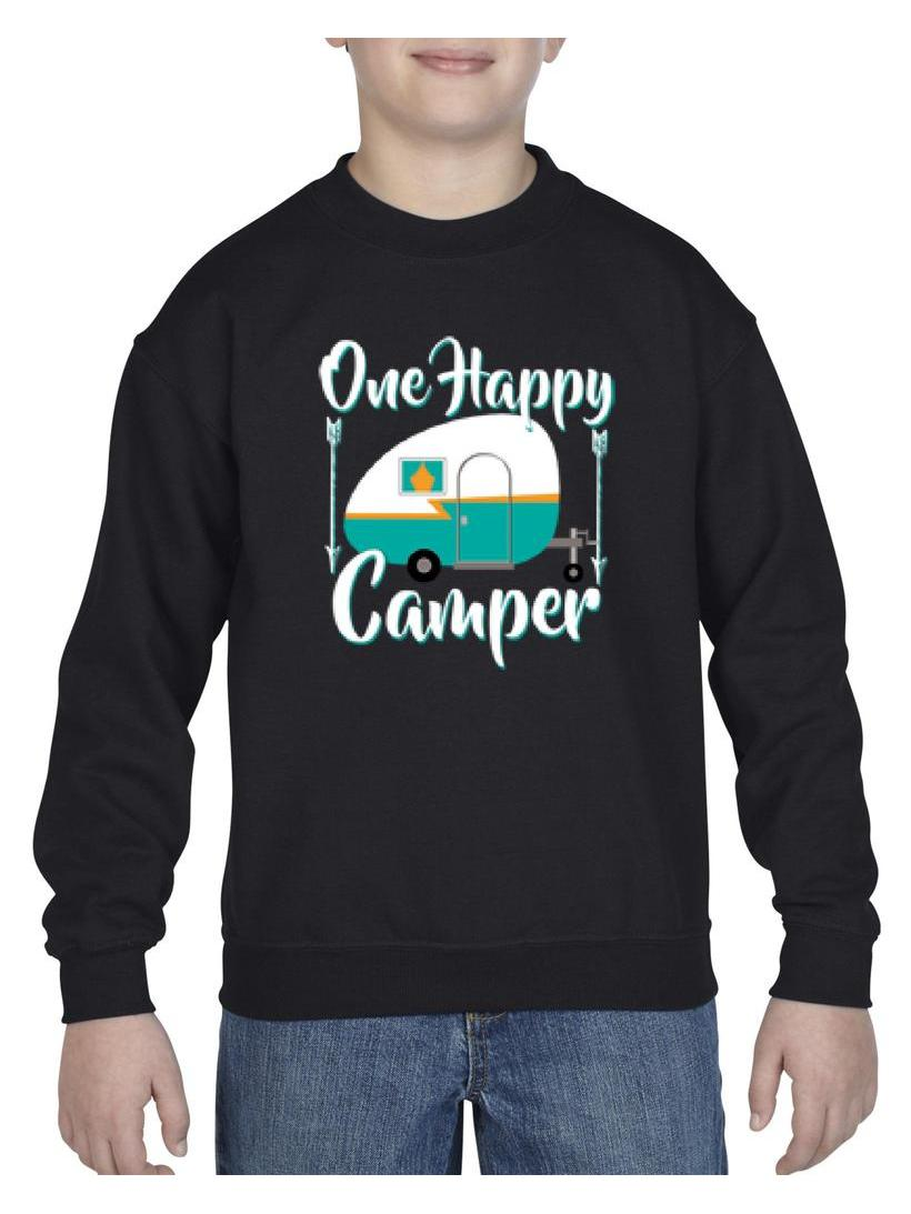 Camping One Happy Camper Unisex Youth Crewneck Sweatshirt