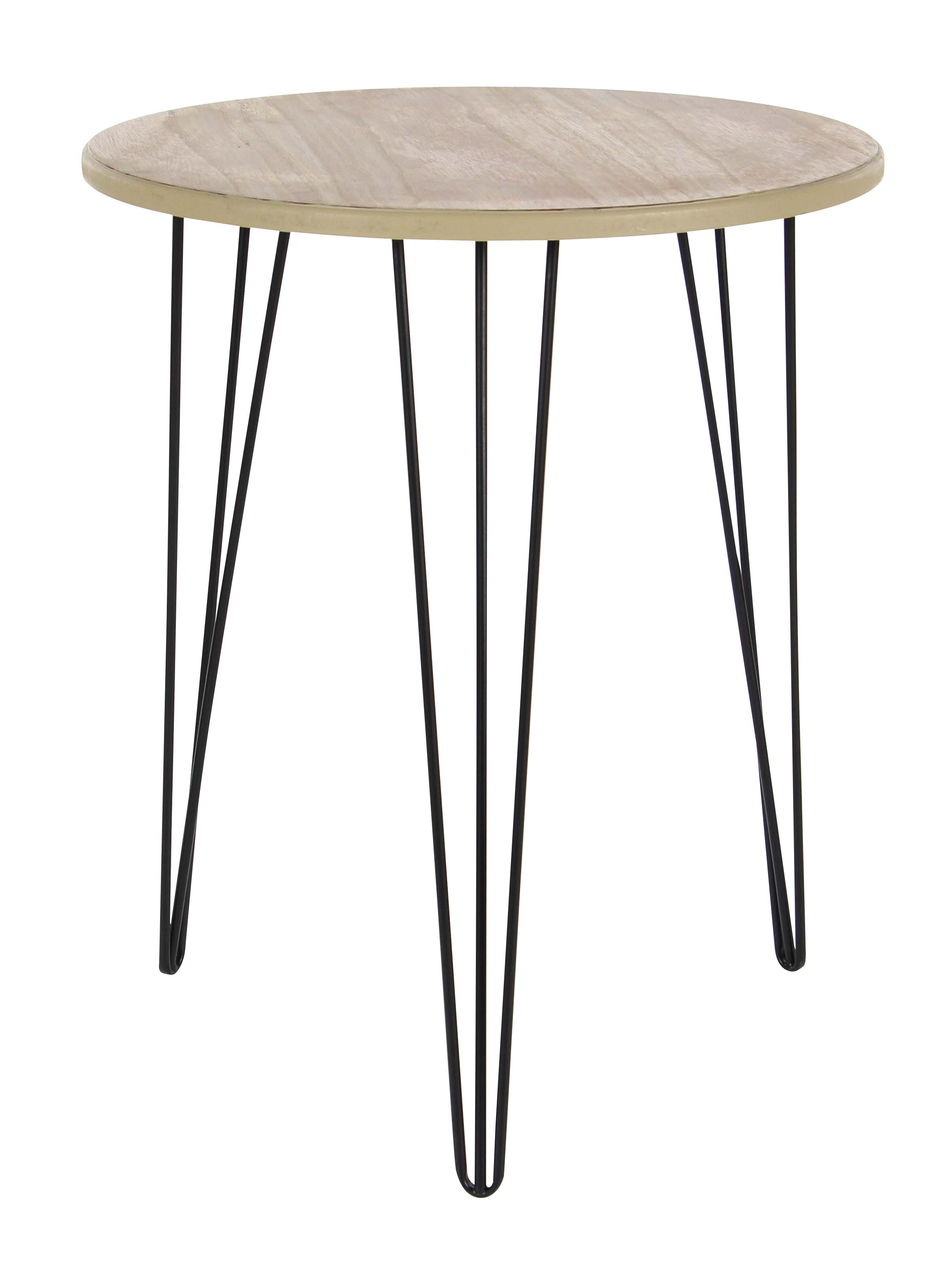 Decmode 22 X 18 Inch Modern Wood and Iron Round Accent Table, Brown by DecMode