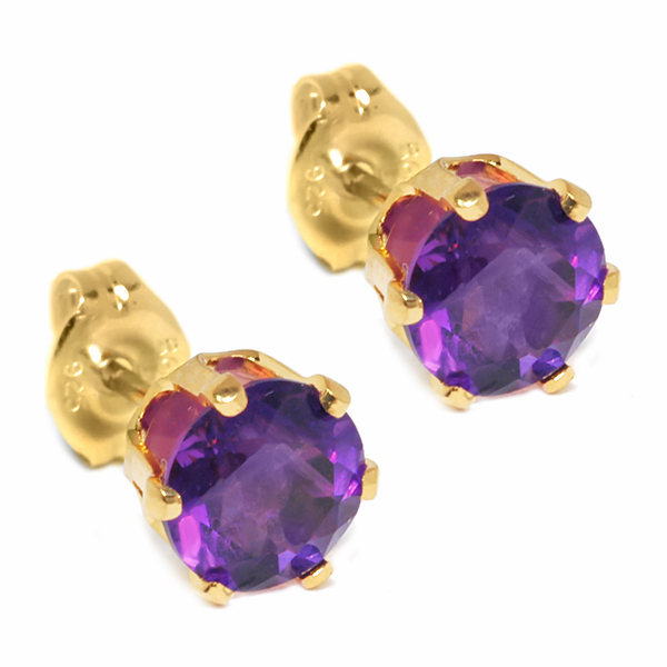 1.50 Ct Round Purple Amethyst Yellow Gold Plated Stud Earrings