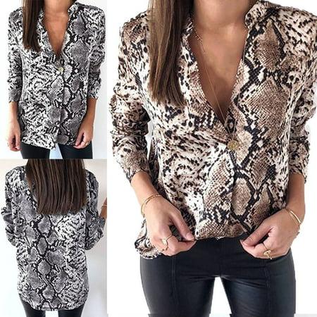 Women Casual V Neck Animal Snake Print Blouse Loose Long Sleeve Tunic Tops