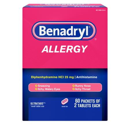 - Benadryl Ultratabs Go Packs, Antihistamine Tablets, 60 packets of 2 tablets, 2 boxes