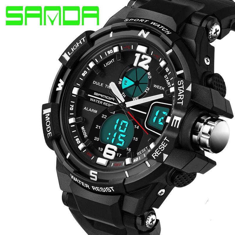 Fashion Men Digital Sports Military Date Analog Quartz Wrist Watch WATERPROOF-Black