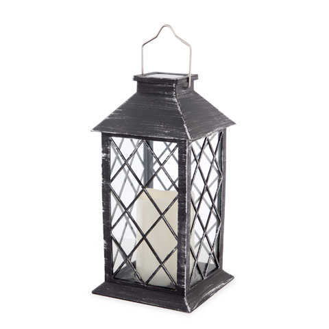 Brushed Silver & Black Solar Powered LED Candle Lantern: 10.8 in
